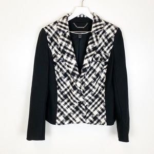 WHBM Textured Plaid Boucle Button Front Blazer